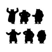 Bear set silhouette. Grizzly various poses. Expression of emotions. Wild anim Stock Illustration