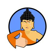 Buddha shows well. Thumbs up and winks. Indian god. Sign all right. Hand show Stock Illustration