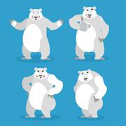 Polar Bear set of different poses. Expression of emotions. Wild beast and evi Stock Illustration