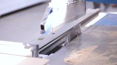 Wood cuttingon automated, robotic Table Circular Saw Stock Footage