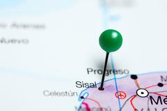 Sisal pinned on a map of Mexico Stock Photos