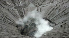 Inside of a Bromo volcano crater, Java island, Indonesia Stock Footage