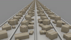 Boxes of different size moving on conveyers, symmetric perspective view. 4K Stock Footage
