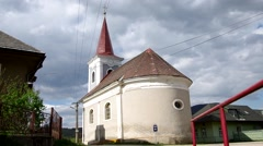 Classicist Evangelical church from 1811 in Hankova, Slovakia Stock Footage