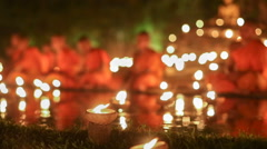 Asalha Bucha Day ,Chiangmai Thailand  ( Rack focus shot) Stock Footage