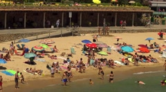 Beach at the small village Sant Antoni de Calonge (Costa Brava) in Spain Stock Footage