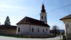 The Evangelical church in Gemerska Panica, Slovakia Stock Footage