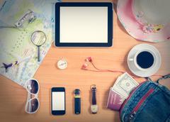 Set of travel accessory background Stock Photos