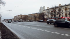 View From Left to Right, Cars Stop at Traffic Lights. Car Driving on a City - stock footage