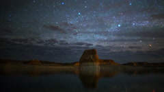 Astro Time Lapse of Stars over Lone Rock at Lake Powell, Utah -Pan Right- Stock Footage