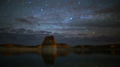 Astro Time Lapse of Stars over Lone Rock at Lake Powell, Utah -Pan Left- Stock Footage