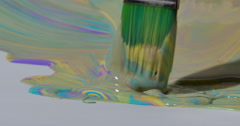 Colorful Paint Dripping from Artist Brush Close Up 422 10bit, 4K Stock Footage