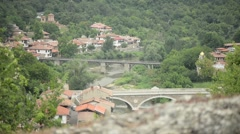 Medieval Village Bridge Stock Footage