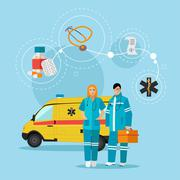 Ambulance car and emergency paramedic team. Vector illustration in flat style Piirros