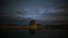 Astro Time Lapse of Stars over Lone Rock at Lake Powell, Utah  Stock Footage