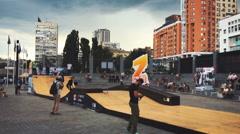 Ukraine, Kyiv- Competitions in skateboarding skatepark. Z-games Stock Footage