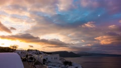 Sunrise  sky in Oia. Santorini Stock Footage