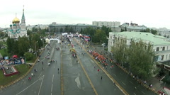 A lot of people run a marathon Stock Footage
