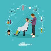 Barbershop concept vector illustration in flat style. Hair salon design elements - stock illustration