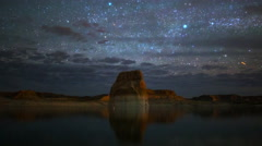 Astro Time Lapse of Stars over Lone Rock at Lake Powell, Utah -Long Shot- Stock Footage