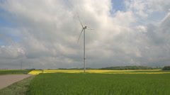 White windmill surrounded by colourful fields of young grass and yellow turnip Stock Footage