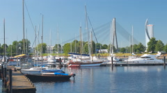 "View on yahts in Riga yacht club ""Andrejosta"" - stock footage"