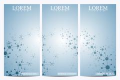 Set of modern vector flyers. Abstract background with molecule structure DNA and - stock illustration