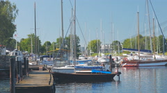 """View on yahts in Riga yacht club """"Andrejosta"""" Stock Footage"""