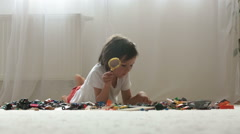 Cute little preschool child, boy, playing at home with constructor blocks, bu Stock Footage
