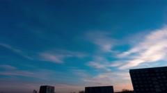 Sunset sky moon house Stock Footage