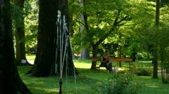 Padua - Botanical garden - Fountain Stock Footage