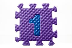 Rubber puzzle with number 1 Stock Photos