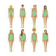 Different female body types. Woman figure shapes. Vector illustration in flat Stock Illustration