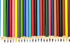 Sharpened multi colored pencil crayons Stock Photos