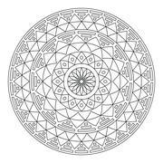 Tribal folk Aztec geometric pattern in circle - stroke - stock illustration