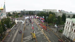 A large number of people during the marathon finish Stock Footage