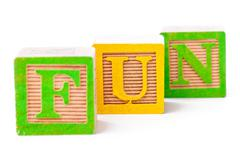 Building blocks arranged to forma a word fun Stock Photos