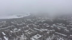Chernobyl. Pripyat. Aerial view. Winter. Copter. Stock Footage
