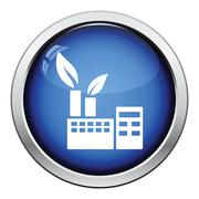 Ecological industrial plant icon - stock illustration