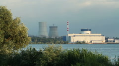 Exterior view of the unit of a industrial nuclear power plant. HD Stock Footage