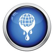 Planet flowing down water icon Stock Illustration