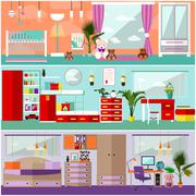Kids bedroom interior in flat style. Vector illustration. House room design - stock illustration