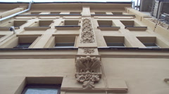 Bottom View of Multistory Building Decor Fragment, Relief Ornament. Zoom in Stock Footage