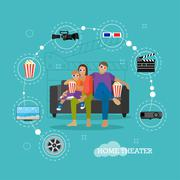 Family eating popcorn and watching movie in home theater. Cinema concept vector Stock Illustration