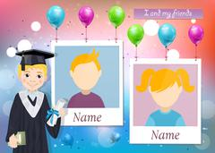 Yearbook for school with graduate boy and two photos Stock Illustration