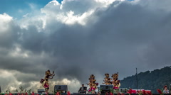 Traditional Balinese dance in the mountains on the background of clouds. 4K Stock Footage