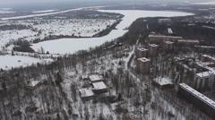 Chernobyl. Pripyat. Berth. River. copter. winter. 2014 Stock Footage