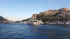 Bonifacio harbor, boat point of view Stock Footage