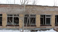 Pripyat. School Number 1. copter. winter 2014 Stock Footage