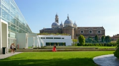 Padua - Botanical garden - The garden of the new greenhouse Stock Footage